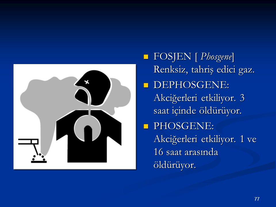FOSJEN [ Phosgene] Renksiz, tahriş edici gaz.